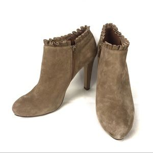 BANANA REPUBLIC Ruffle Ankle Boots Blush Buff Nude